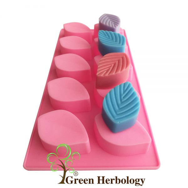 Leaf with 10 Cavity Silicone Mold for Handmade Soap Bar