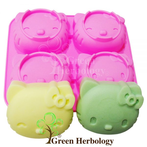 Hello Kitty 4 Silicone Mold for Handmade Soap Bar