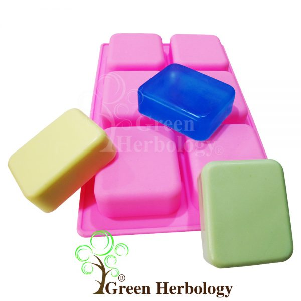 Rectangle Round Edge 6 Silicone Mold for Handmade Soap Bar